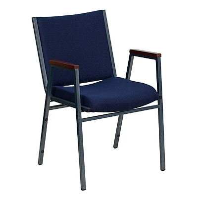 Flash Furniture HERCULES Series Heavy Duty, 3'' Thickly Padded, Upholstered Stack Chair with Arms, Navy Patterned, 4/Pack
