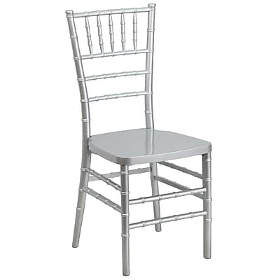 Flash Furniture Flash Elegance Resin Stacking Chiavari Chair, Silver, 20/Pack