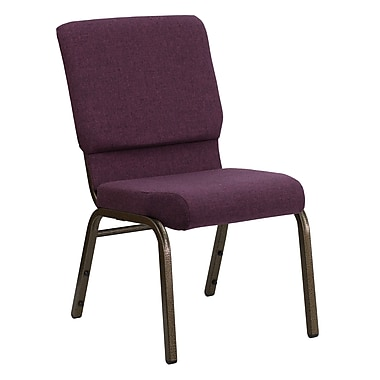 Flash Furniture – Chaise d'église empilable Hercules 18,5 po larg., siège 4,25 po épais, prune, structure dorée