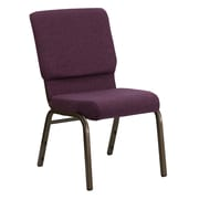 Flash Furniture HERCULES Series 18.5'' Wide Stacking Church Chair with 4.25'' Thick Seat - Gold Vein Frame, Plum