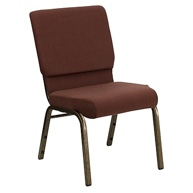 Flash Furniture HERCULES Series 18.5'' Wide Stack Church Chair with 4.25'' Thick Seat - Gold Vein Frame, Brown
