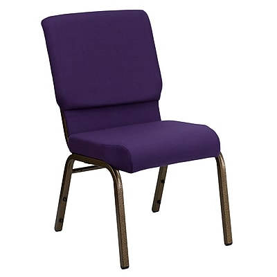 Flash Furniture HERCULES Series 18.5''W Church Stack Chair with 4.25'' Thick Seat - Gold Vein Frame, Royal Purple, 20/Pack