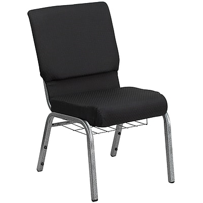 Flash Furniture HERCULES Series 18.5''W Church Chair with 4.25'' Seat, Cup Rack - Silver Vein Frame, Black Pattern, 20/Pack