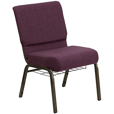 Flash Furniture HERCULES Series 21''W Church Chair with 4'' Thick Seat, Communion Cup Rack - Gold Vein Frame, Plum