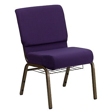 Flash Furniture – Chaise d'église Hercules, 21 po de large, siège de 4 po, support à coupe, armature dorée, violet royal, paq/20