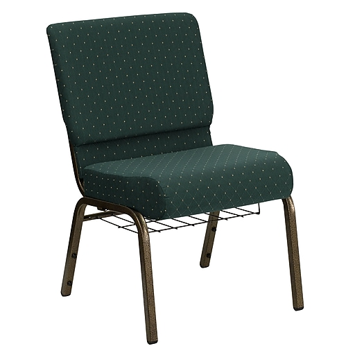Flash Furniture HERCULES Series 21''W Church Chair with 4'' Seat, Communion Cup Rack - Gold Vein Frame, Hunter Dot, 20/Pack