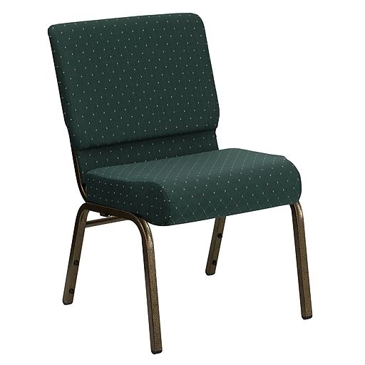Flash Furniture HERCULES Series 21''W Church Stack Chair with 4'' Thick Seat - Gold Vein Frame, Hunter Green Dot Pattern