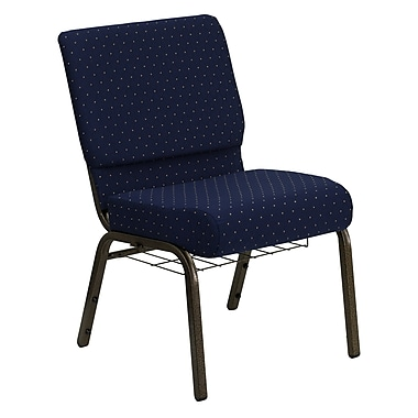 Flash Furniture Hercules Series 21''W Church Chair with 4'' Thick Seat, Communion Cup Rack - Gold Vein Frame, Navy Dot, 20/Pack