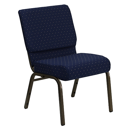 Flash Furniture HERCULES Series 21''W Church Stack Chair with 4'' Thick Seat - Gold Vein Frame, Navy Blue Dot Pattern
