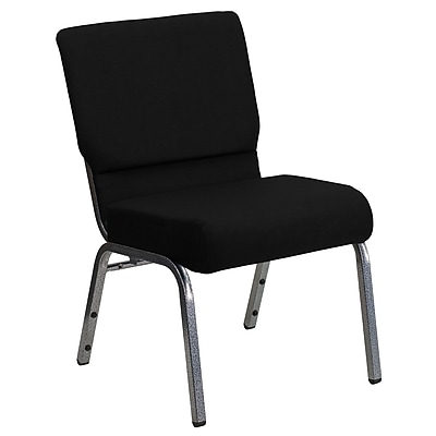 Flash Furniture HERCULES Series 21'' Extra Wide Stacking Church Chair with 3.75'' Thick Seat - Silver Vein Frame, Black, 20/Pack