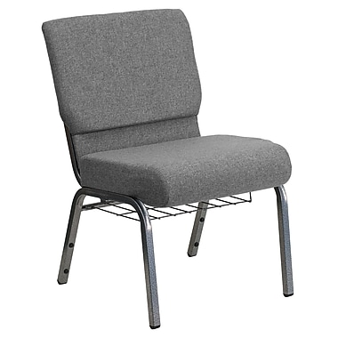 Flash Furniture Hercules Series 21''W Church Chair with 3.75'' Thick Seat, Rack - Silver Vein Frame, Gray, 20/Pack