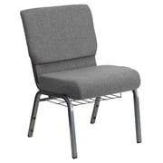Flash Furniture HERCULES Series 21'' Extra Wide Church Chair with 3.75'' Thick Seat, Book Rack - Silver Vein Frame, Gray