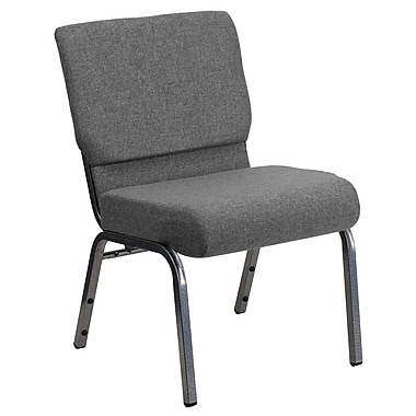 Flash Furniture – Chaise d'église empilable Hercules très large 21 po, siège 3,75 po, structure argentée, gris, paq./20