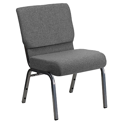 Flash Furniture HERCULES Series 21'' Extra Wide Stacking Church Chair with 3.75'' Thick Seat - Silver Vein Frame, Gray