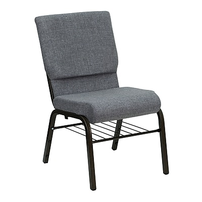 Flash Furniture HERCULES Series 18.5'' Wide Church Chair with 4.25'' Thick Seat Book Rack - Gold Vein Frame, Gray, 20 Pack