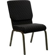 Flash Furniture – Chaise d'église empilable Hercules 18,5 po larg., siège 4,25 po épais, noir à points, structure dorée
