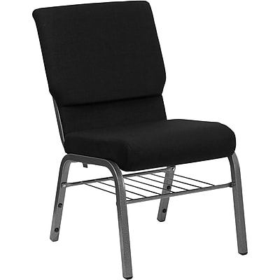 Flash Furniture HERCULES Series 18.5'' Wide Church Chair with 4.25'' Thick Seat Book Rack - Silver Vein Frame, Black, 20 Pack