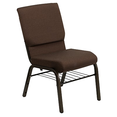 Flash Furniture HERCULES Series 18.5'' Wide Church Chair with 4.25'' Thick Seat Book Rack - Gold Vein Frame, Brown