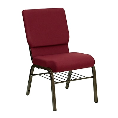 Flash Furniture HERCULES Series 18.5'' Wide Church Chair with 4.25'' Thick Seat Book Rack - Gold Vein Frame, Burgundy, 20/Pack