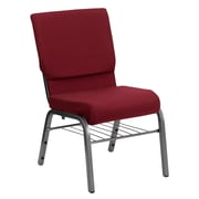 Flash Furniture HERCULES Series 18.5'' Wide Church Chair with 4.25'' Thick Seat Book Rack - Silver Vein Frame, Burgundy
