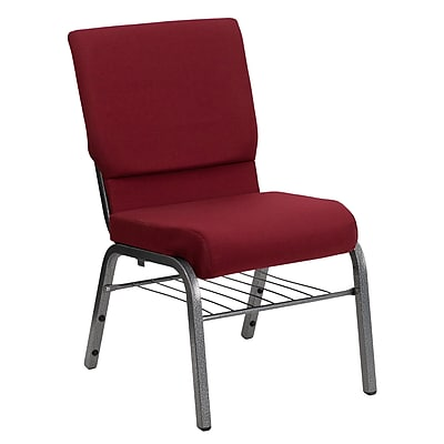 Flash Furniture HERCULES Series 18.5'' Wide Church Chair with 4.25'' Thick Seat Book Rack - Silver Vein Frame, Burgundy, 20 Pack