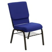 Flash Furniture HERCULES Series 18.5'' Wide Church Chair with 4.25'' Thick Seat Book Rack - Gold Vein Frame, Navy Blue