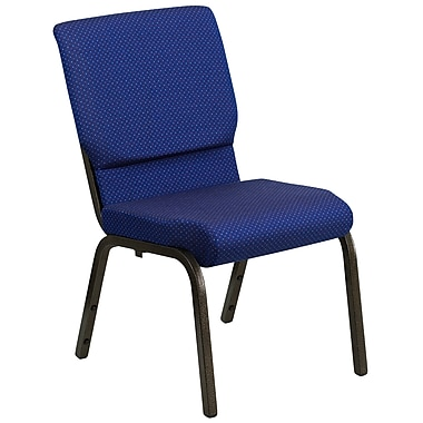 Flash Furniture – Chaise d'église empilable Hercules 18,5 po larg., siège 4,25 po épais, bleu marine à points, structure dorée