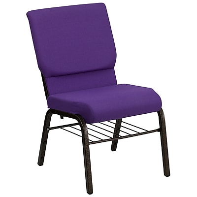 Flash Furniture HERCULES Series 18.5'' Wide Church Chair with 4.25'' Thick Seat Book Rack - Gold Vein Frame, Purple