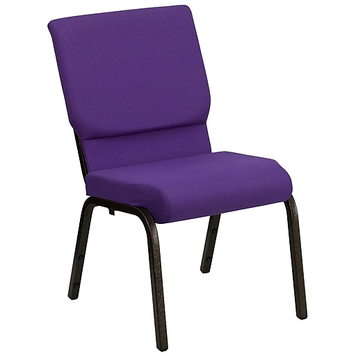 Flash Furniture HERCULES Series 18.5'' Wide Stacking Church Chair with 4.25'' Thick Seat - Gold Vein Frame, Purple, 20/Pack