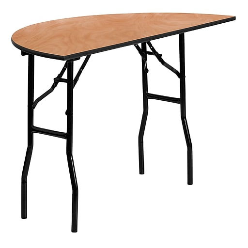 Flash Furniture 48'' Half-Round Wood Folding Banquet Table, Black/Natural