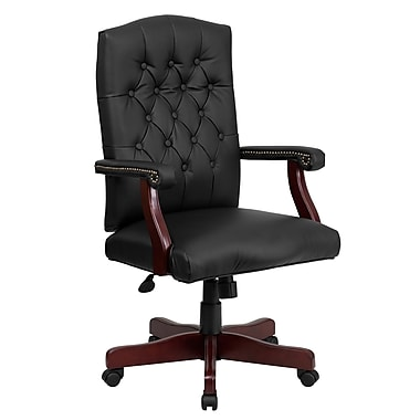 Flash Furniture Swivel Leather Exec Chair, Fixed Arms, Black