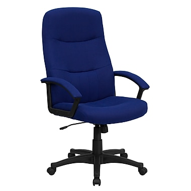 Flash Furniture High-Back Fabric Exec Chair, Fixed Arms, Navy Blue