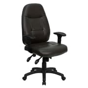 Flash Furniture BT2350BRN LeatherSoft High-Back Executive Chair with Adjustable Arms, Espresso Brown