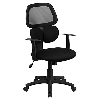 Flash Furniture Mid-Back Mesh Chair with Flexible Dual Lumbar Support, Black