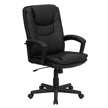 Flash Furniture BT2921BK Leather High-Back Exec Chair with Fixed Arms, Black