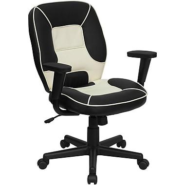 Flash Furniture – Fauteuil de direction en vinyle à dossier mi-dos, accoudoirs réglables, noir/crème