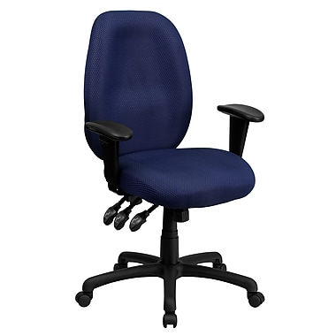 Flash Furniture High-Back Fabric Task Chair, Adjustable Arms, Navy