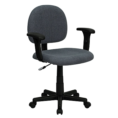 Flash Furniture BT6601GYA Fabric Mid-Back Task Chair with Adjustable Arms, Gray