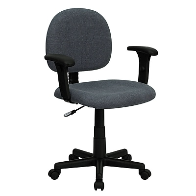 Flash Furniture Fabric Computer and Desk Office Chair, Adjustable Arms, Gray (BT6601GYA)