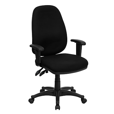 Flash Furniture Fabric Computer and Desk Office Chair, Adjustable Arms, Black (BT661BK)