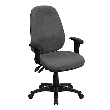 Flash Furniture – Chaise de travail BT661GR en tissu avec dossier mi-dos et accoudoirs ajustables, gris