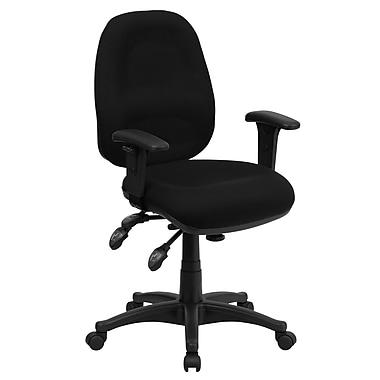 Flash Furniture – Chaise de travail BT-662-BK-GG en tissu à dossier mi-dos et accoudoirs ajustables, noir