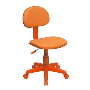 Flash Furniture – Chaise de travail BT-698-ORANGE-GG en tissu, sans accoudoirs et à dossier bas, orange