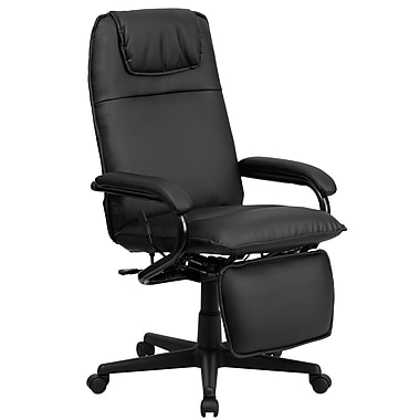 Flash Furniture High-Back Leather Soft Exec Chair, Fixed Arms, Black (BT70172BK)