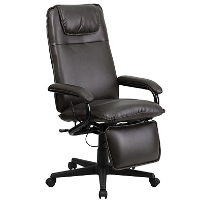 Flash Furniture Leather Executive Office Chair Fixed Arms Brown