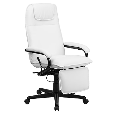 Flash Furniture BT70172WH High-Back Leather Soft Exec Chair with Fixed Arms, White