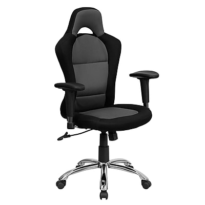 Flash Furniture Bucket Seat Mesh Computer and Desk Office Chair, Adjustable Arms, Gray/Black (BT9015GYBK)