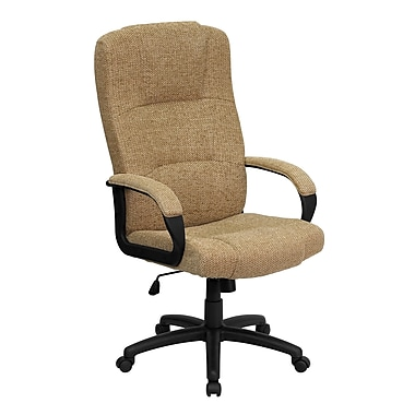 Flash Furniture BT9022BGE High-Back Fabric Exec Chair with Fixed Arms, Beige