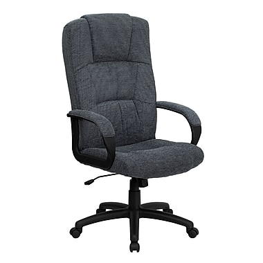 Flash Furniture Fabric Executive Office Chair, Fixed Arms, Gray (BT9022BK)