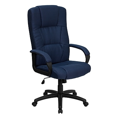 Flash Furniture BT9022BL High-Back Fabric Exec Chair with Fixed Arms, Navy